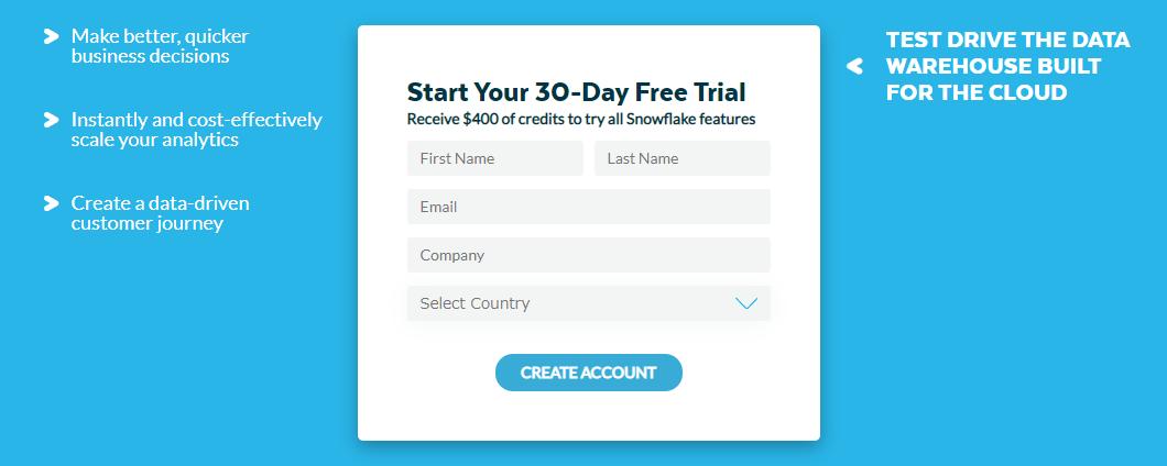 snowflakeのトライアル申込画面